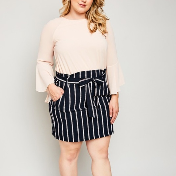 3e2e2faad493 Hayden Los Angeles Skirts | Plus Size Stripe Paper Bag Skirt | Poshmark